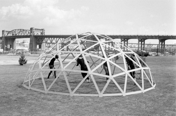 Geodesic Dome construction at the Planetarium